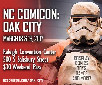 Web banner for NC Comicon: Oak City